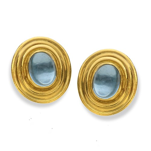 22k Gold Aquamarine Cabochon Oval Earrings