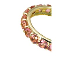 18K Gold Studded Stackable Ring, Pink Tourmaline