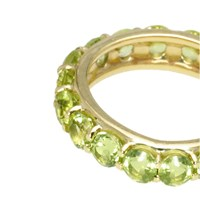 18K Gold Studded Stackable Ring, Peridot