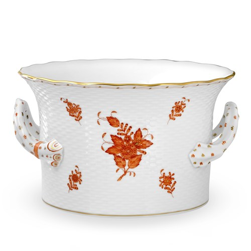 Herend Chinese Bouquet Cachepot with Handles, Rust