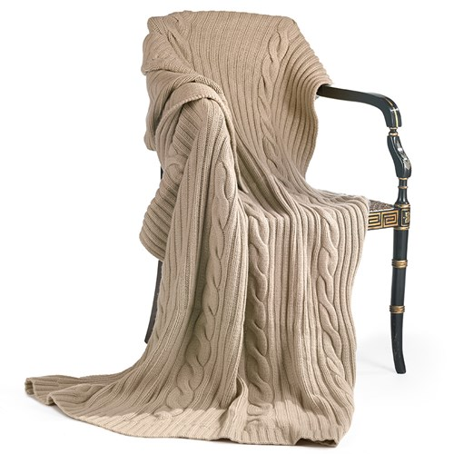 Cashmere Cable Throw, Taupe