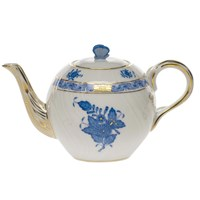 Herend Chinese Bouquet Blue Teapot with Butterfly Finial, Small