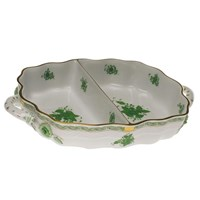 Herend Chinese Bouquet Green 2-Section Hors d'Oeuvres Dish