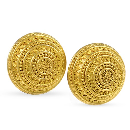 22k Gold Round Domed Granulated Earrings