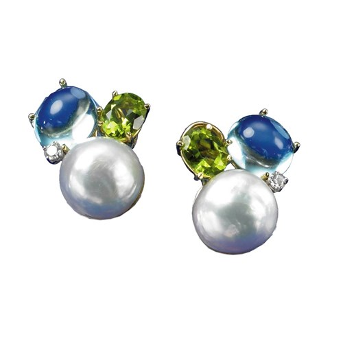 Blue Topaz, Peridot, & Pearl Earrings with Diamonds, Clips