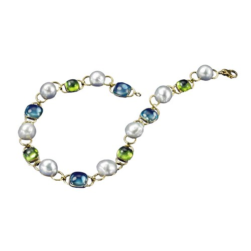18k Yellow Gold Blue Topaz, Peridot & South Sea Pearl Necklace