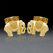 indian; cuff links; yellow gold