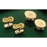 18k Gold Oval Plate Notched Rim Cufflinks