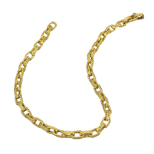 18k Gold Braided Rope Link Necklace