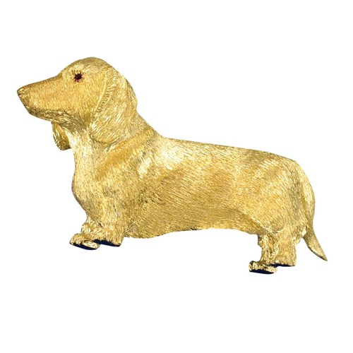 18k Yellow Gold Long Haired Dachshund Pin