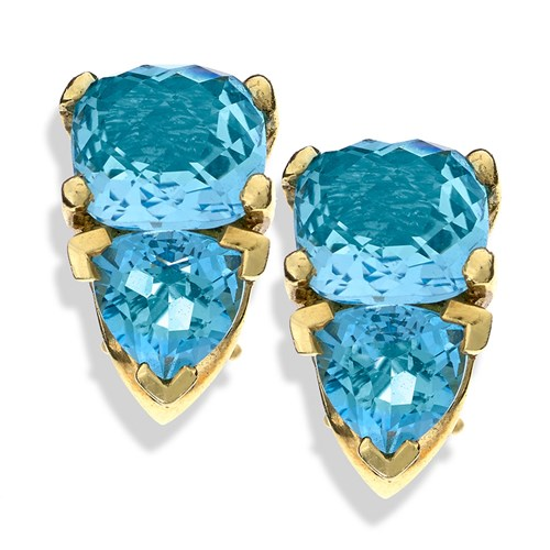 18k Gold Double Blue Topaz Earrings