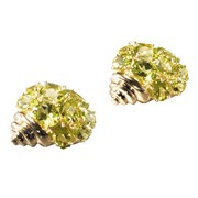 18k Gold Peridot Shell Earrings