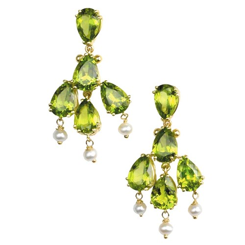 18k Gold Peridot & Pearl Chandelier Earrings