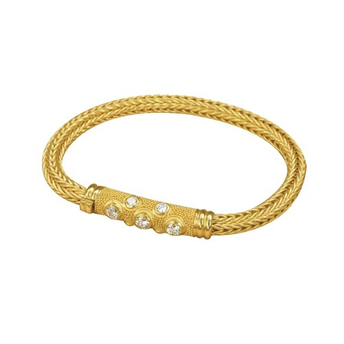 22k Gold Granulated Diamond Bracelet