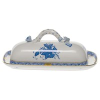 Herend Chinese Bouquet Blue Butter Dish with Branch Finial