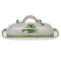 Herend Chinese Bouquet Green Covered Butter Dish with Branch