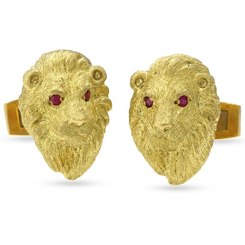 18k Gold Lion Head Cufflinks with Ruby Eyes