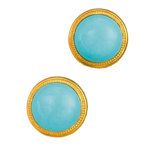 Large Round Turquoise & Gold Earrings