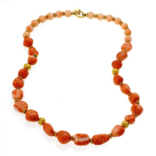 18k Gold Angel Coral Rondelle Necklace