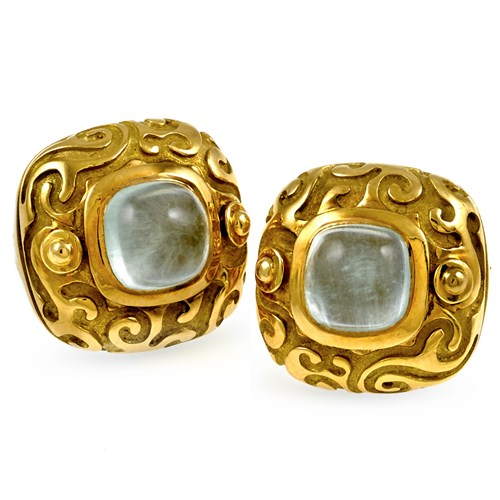18k Gold & Milky Aquamarine Earrings, Clips