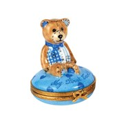 Blue Teddy Bear My First Tooth Limoges Box