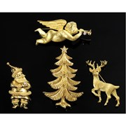 18k Yellow Gold Christmas Tree Pin