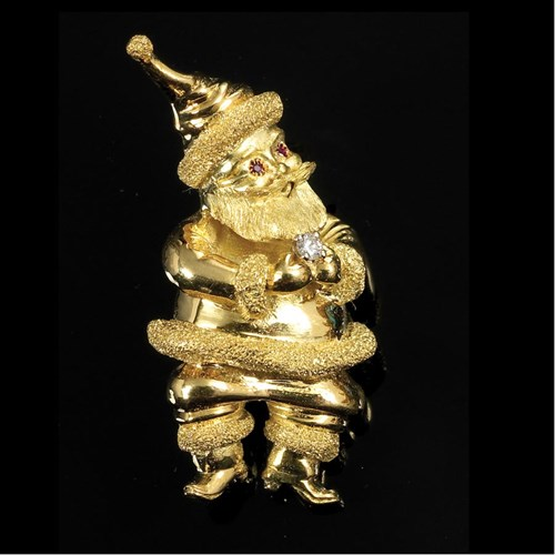 18k Yellow Gold Santa Claus Pin