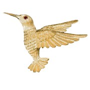 18k Yellow Gold Large Hummingbird Pin