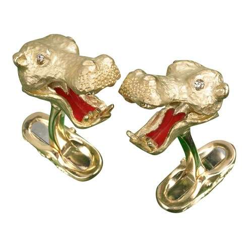 18k Hippo Cufflinks with Diamonds & Enamel