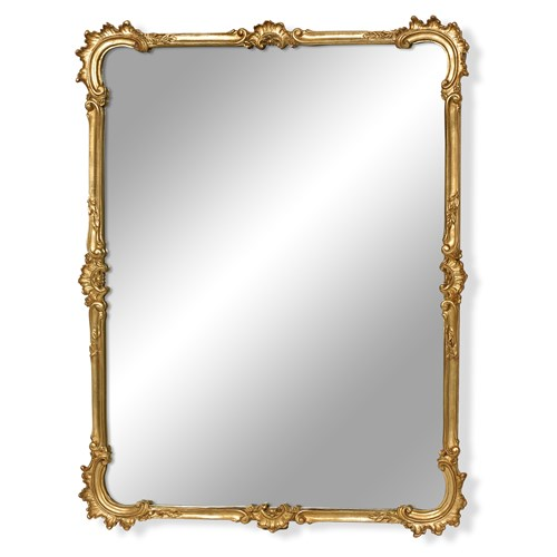 C-Scroll Antique Gold Beveled Mirror