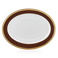 Haviland Laque de Chine Gold & Chocolate Oval Platter