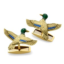 18k Gold Enamel Duck Cufflinks