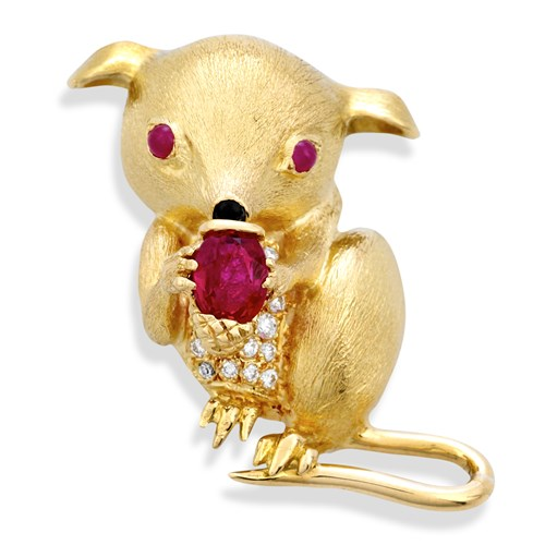 18k Gold Mouse with Nut Pin