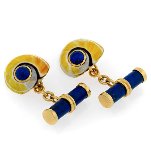 18k Gold Yellow Shell Cufflinks with with Lapis Bars & Centers