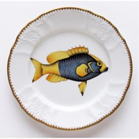 Anna Weatherley Antique Fish Salad Plate, Light Blue / Yellow