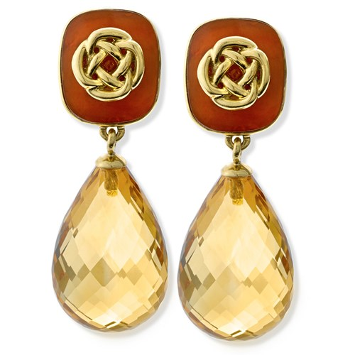 18k Gold Horn Cushion Earrings with Citrine Drops