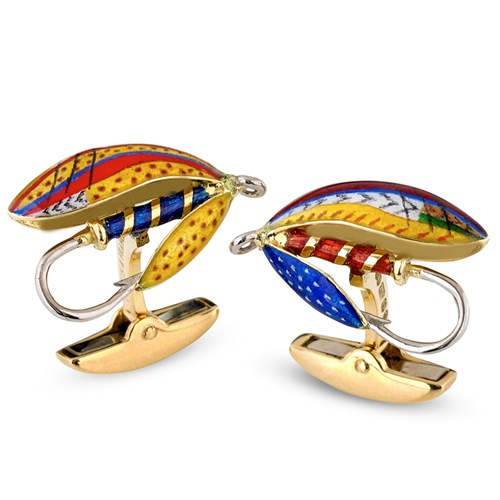 Enamel Fish Fly Cufflinks