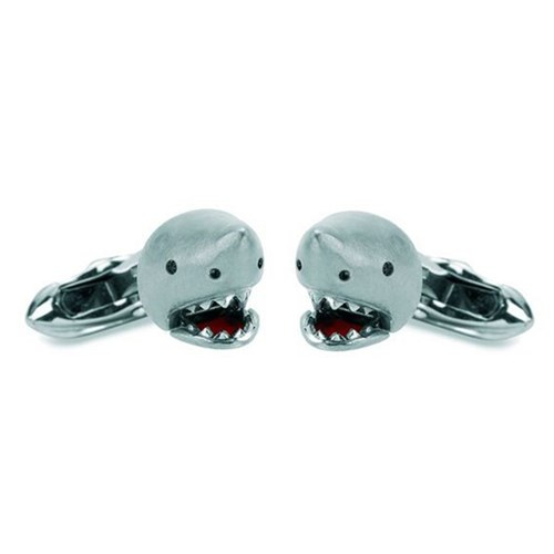 18k White Gold Shark with Diamond Eyes Cufflinks