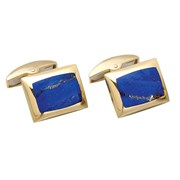 18k Gold Rectangular Lapis Cufflinks