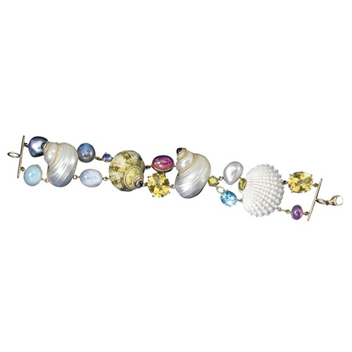 18k Gold Multi Stone Shell Bracelet