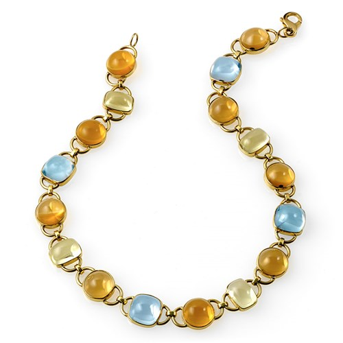 18k Gold Citrine & Blue Topaz Necklace