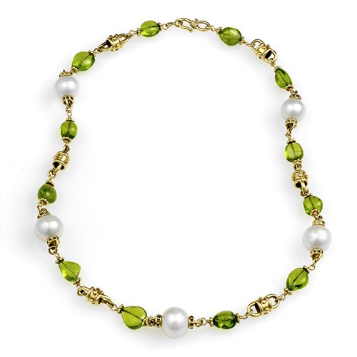 18k Yellow Gold Peridot & Freshwater Pearl Necklace