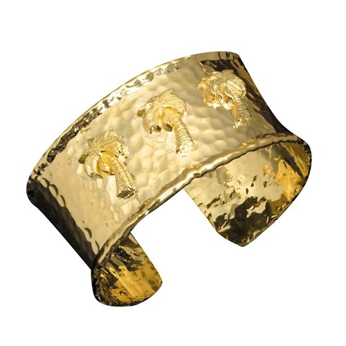 18k Yellow Gold Palm Tree Cuff Bracelet