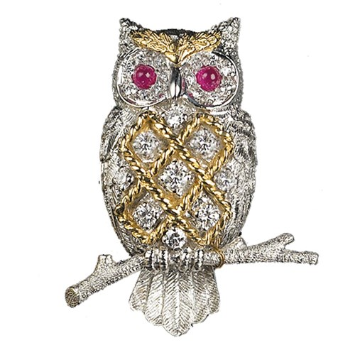 18k White Gold Criss-Cross Owl Pin