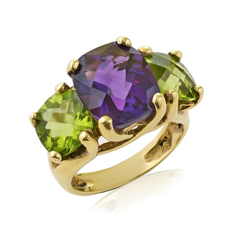 18k Yellow Gold 3-Stone Amethyst & Peridot Ring