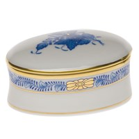 Herend Chinese Bouquet Blue Oval Box