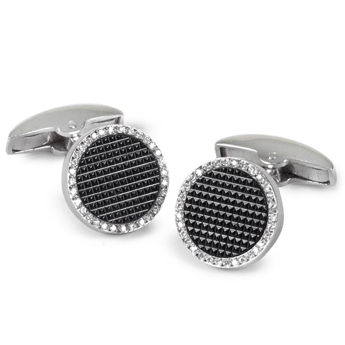 Textured Onyx Diamond Cufflinks