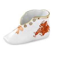 Herend Baby Shoe, Chinese Bouquet Rust