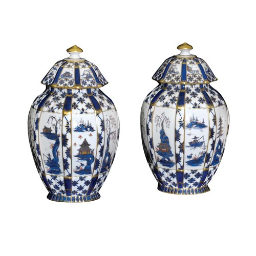 Dresden Pair Blue/White Chinese Pattern Urns