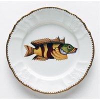 Anna Weatherley Antique Fish Salad Plate, Red / Yellow / Green